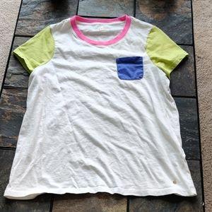 Kate Spade Basic Color Block Pocket T Shirt XL